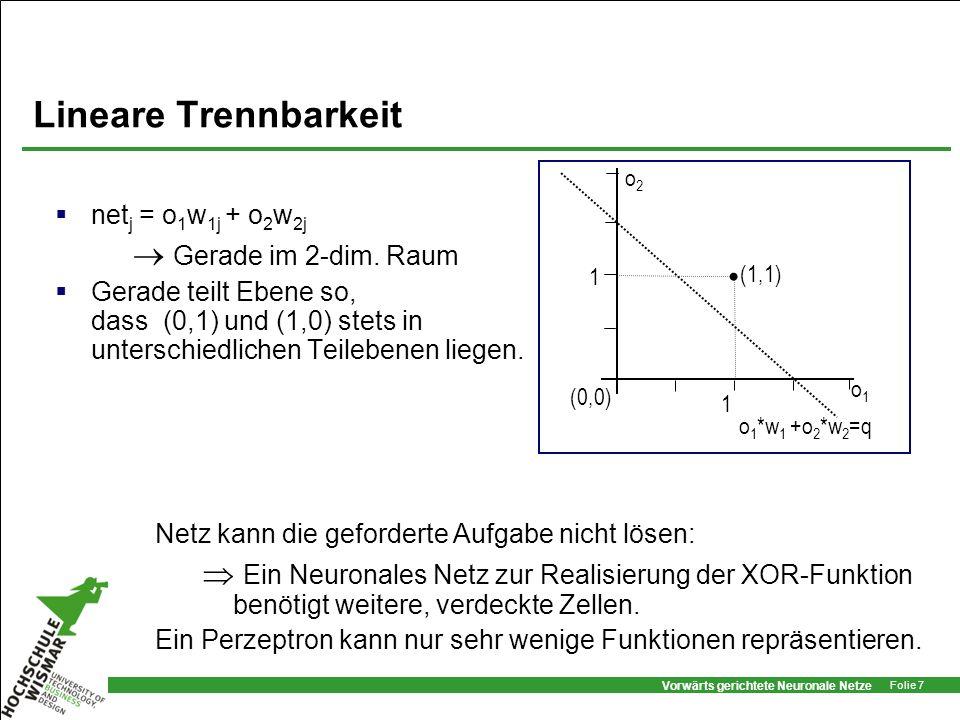 Vorwärts gerichtete Neuronale Netze Folie 8 Lernverfahren while Eingabemuster do begin nächstes Eingabemuster I und berechne Ausgabemuster O for each j in AusgabeNeuronen do if o j t j then if o j =0 then {Ausgabe=0, aber 1 erwartet} for each i in EingabeNeuron do w ij := w ij + o i else if o j =1 then {Ausgabe=1, aber 0 erwartet} for each i in EingabeNeuron do w ij := w ij - o i ; end Wiederhole bis gewünschtes Verhalten erreicht