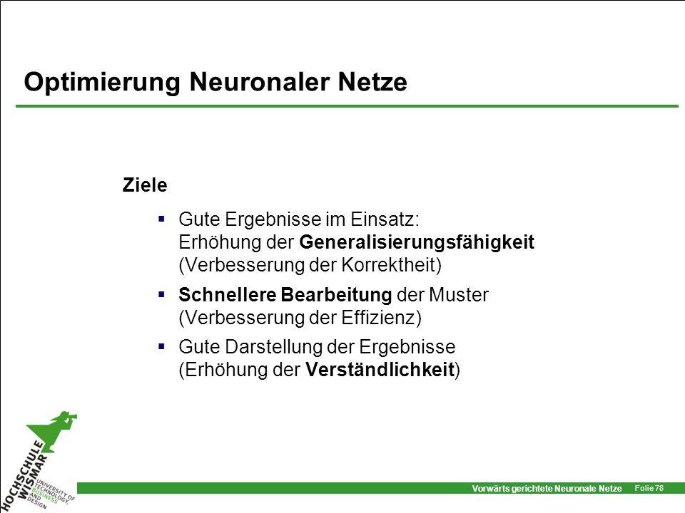 Vorwärts gerichtete Neuronale Netze Folie 78 Optimierung Neuronaler Netze Ziele Gute Ergebnisse im Einsatz: Erhöhung der Generalisierungsfähigkeit (Ve