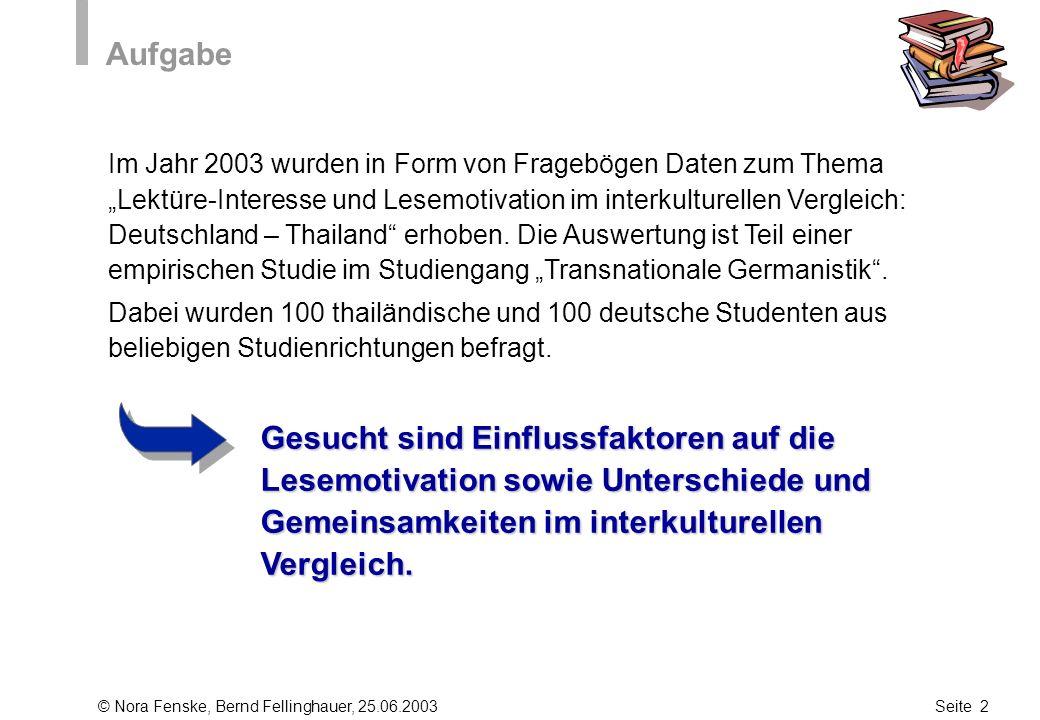© Nora Fenske, Bernd Fellinghauer, 25.06.2003Seite 2 Aufgabe Im Jahr 2003 wurden in Form von Fragebögen Daten zum Thema Lektüre-Interesse und Lesemoti