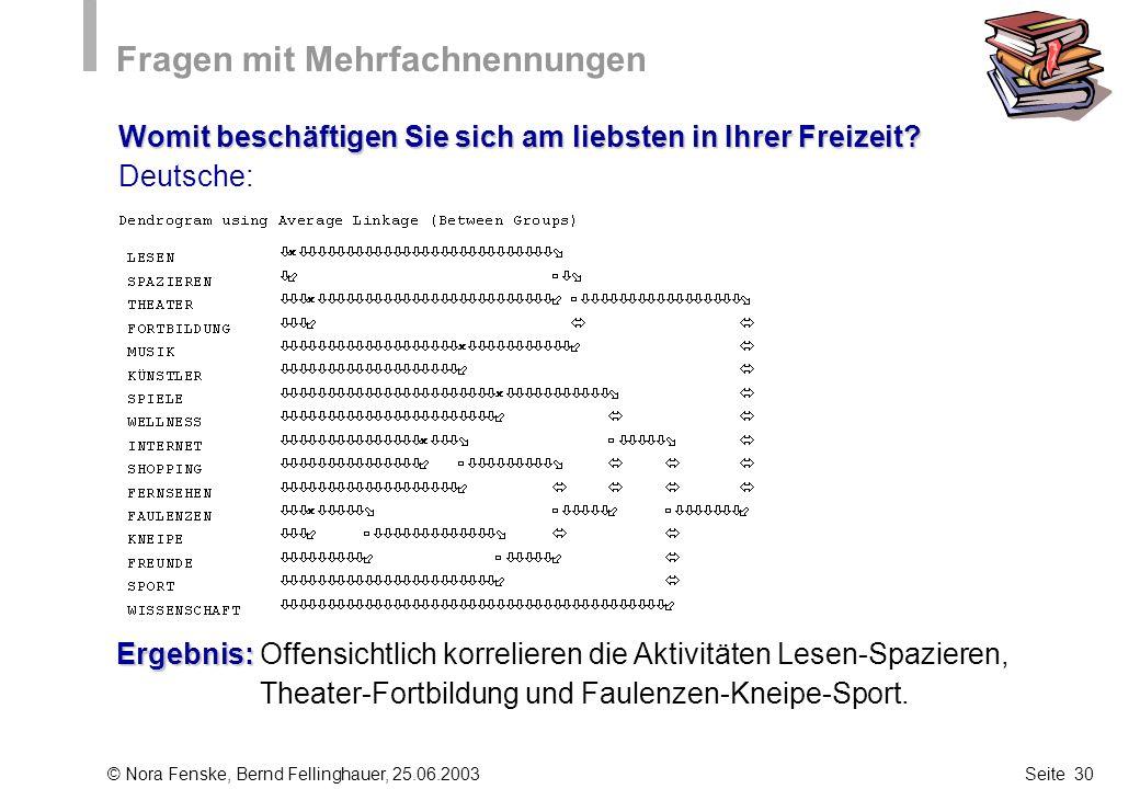 © Nora Fenske, Bernd Fellinghauer, 25.06.2003Seite 30 Fragen mit Mehrfachnennungen Womit beschäftigen Sie sich am liebsten in Ihrer Freizeit? Deutsche