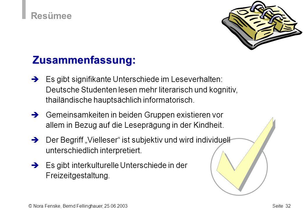 © Nora Fenske, Bernd Fellinghauer, 25.06.2003Seite 32 Zusammenfassung: Resümee Es gibt signifikante Unterschiede im Leseverhalten: Deutsche Studenten