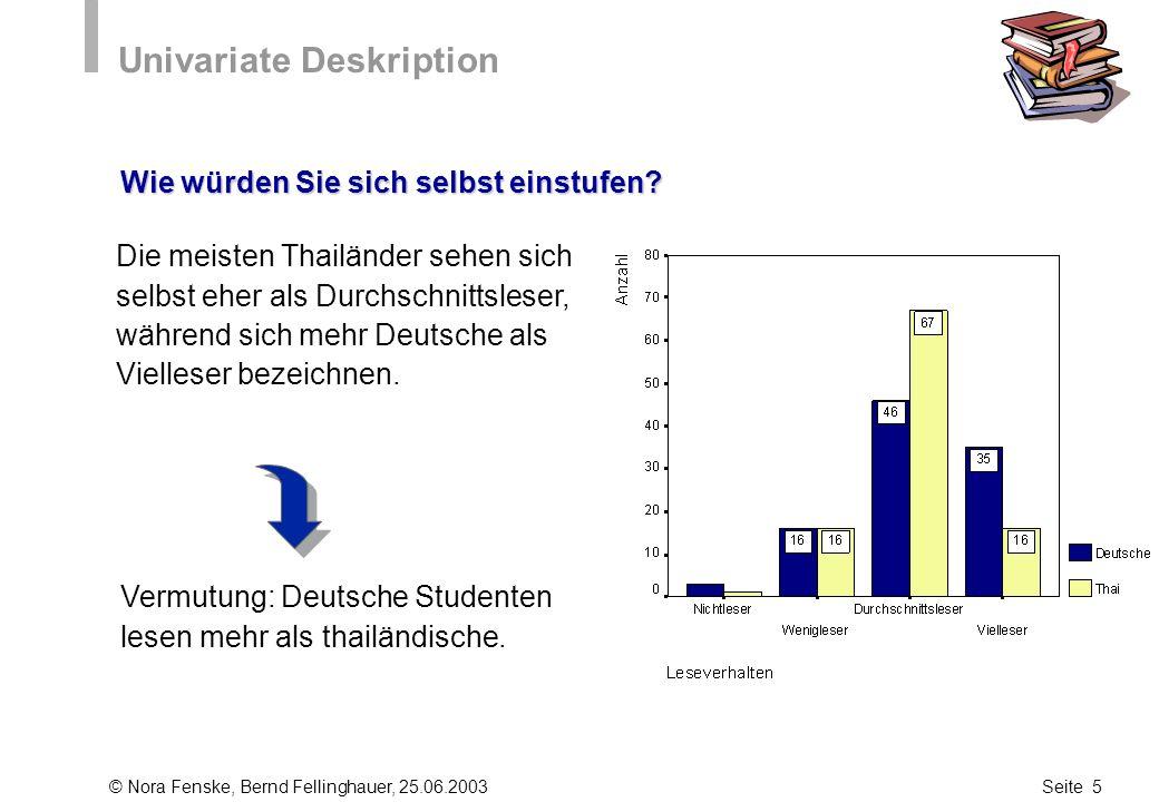 © Nora Fenske, Bernd Fellinghauer, 25.06.2003Seite 5 Univariate Deskription Wie würden Sie sich selbst einstufen? Die meisten Thailänder sehen sich se