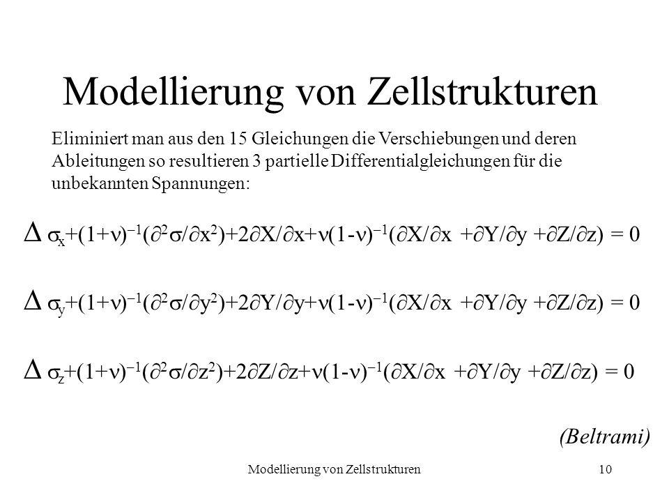 Modellierung von Zellstrukturen10 x +(1+ ) –1 ( 2 / x 2 )+2 X/ x+ (1- ) –1 ( X/ x + Y/ y + Z/ z) = 0 y +(1+ ) –1 ( 2 / y 2 )+2 Y/ y+ (1- ) –1 ( X/ x +