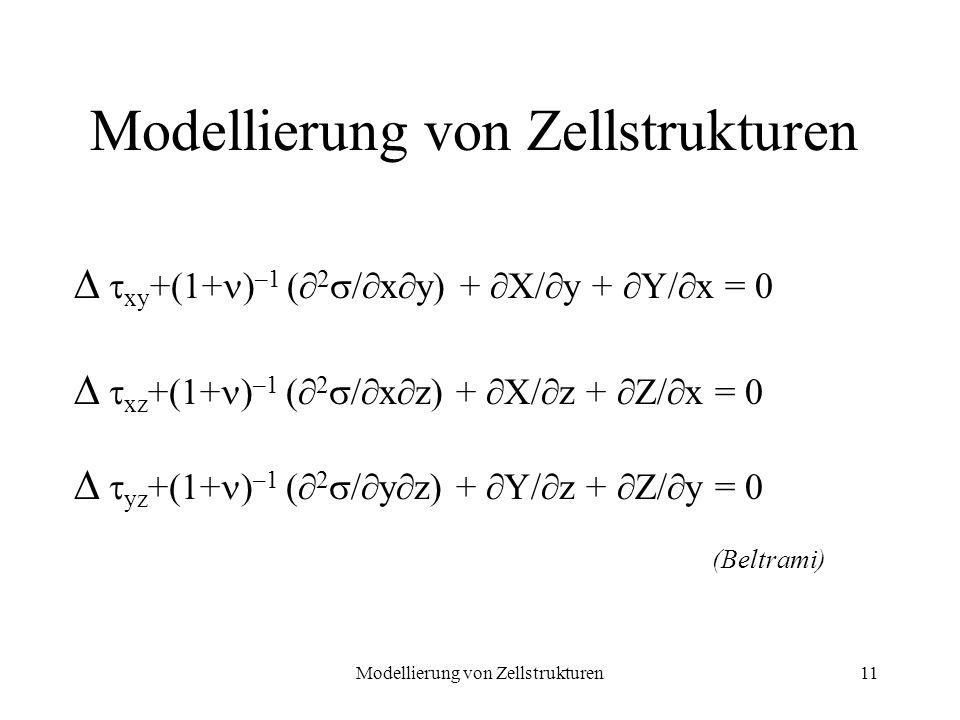 Modellierung von Zellstrukturen11 xy +(1+ ) –1 ( 2 / x y) + X/ y + Y/ x = 0 xz +(1+ ) –1 ( 2 / x z) + X/ z + Z/ x = 0 yz +(1+ ) –1 ( 2 / y z) + Y/ z +