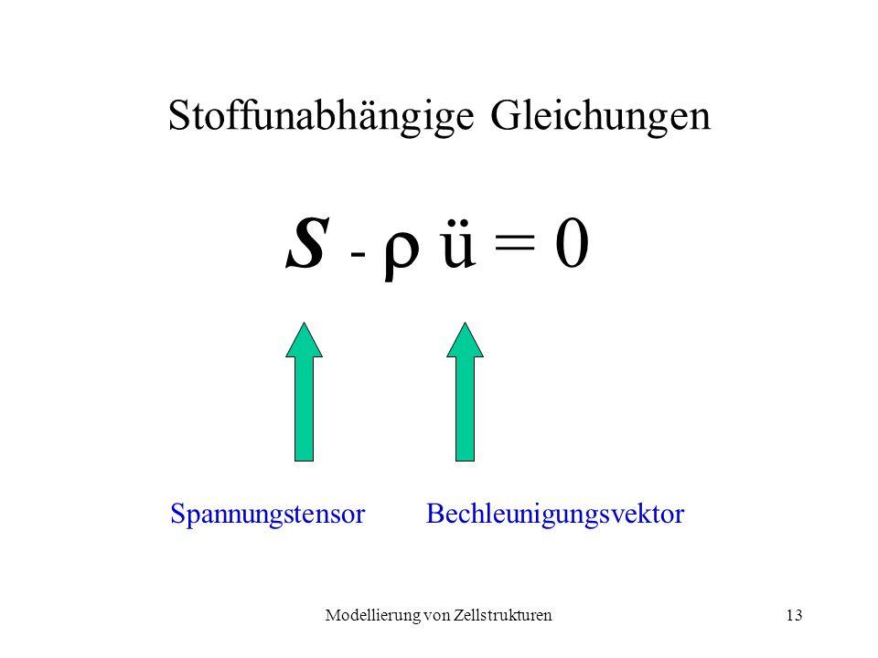 Modellierung von Zellstrukturen13 Stoffunabhängige Gleichungen S - ü = 0 SpannungstensorBechleunigungsvektor