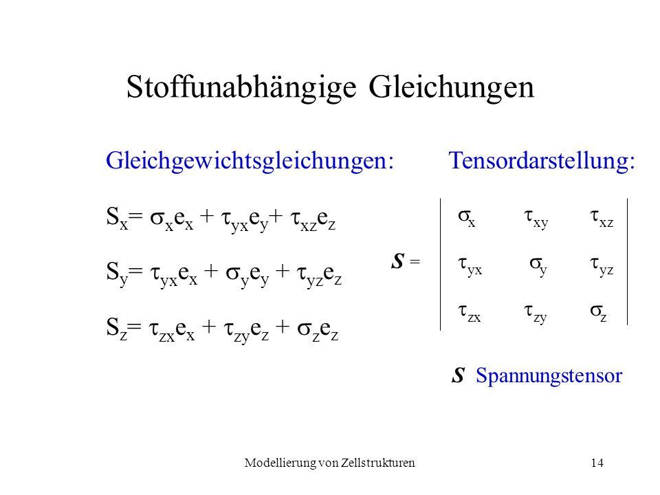 Modellierung von Zellstrukturen14 Stoffunabhängige Gleichungen Gleichgewichtsgleichungen: S x = x e x + yx e y + xz e z S y = yx e x + y e y + yz e z