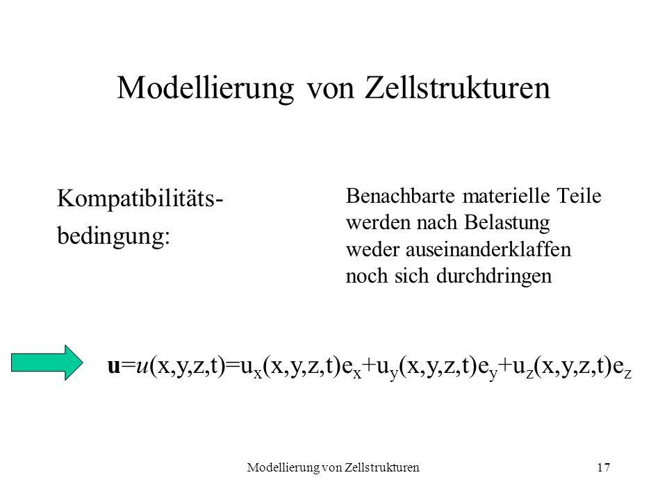 Modellierung von Zellstrukturen17 Modellierung von Zellstrukturen Kompatibilitäts- bedingung: Benachbarte materielle Teile werden nach Belastung weder