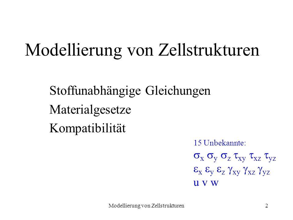 Modellierung von Zellstrukturen2 Stoffunabhängige Gleichungen Materialgesetze Kompatibilität Modellierung von Zellstrukturen 15 Unbekannte: x y z xy x