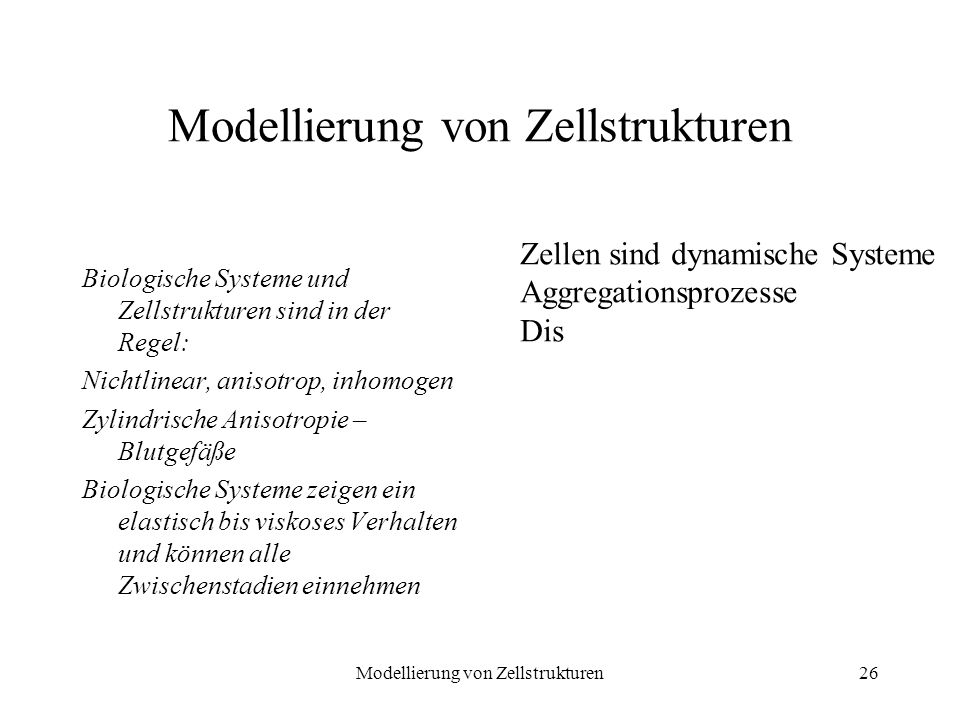 Modellierung von Zellstrukturen26 Modellierung von Zellstrukturen Biologische Systeme und Zellstrukturen sind in der Regel: Nichtlinear, anisotrop, in