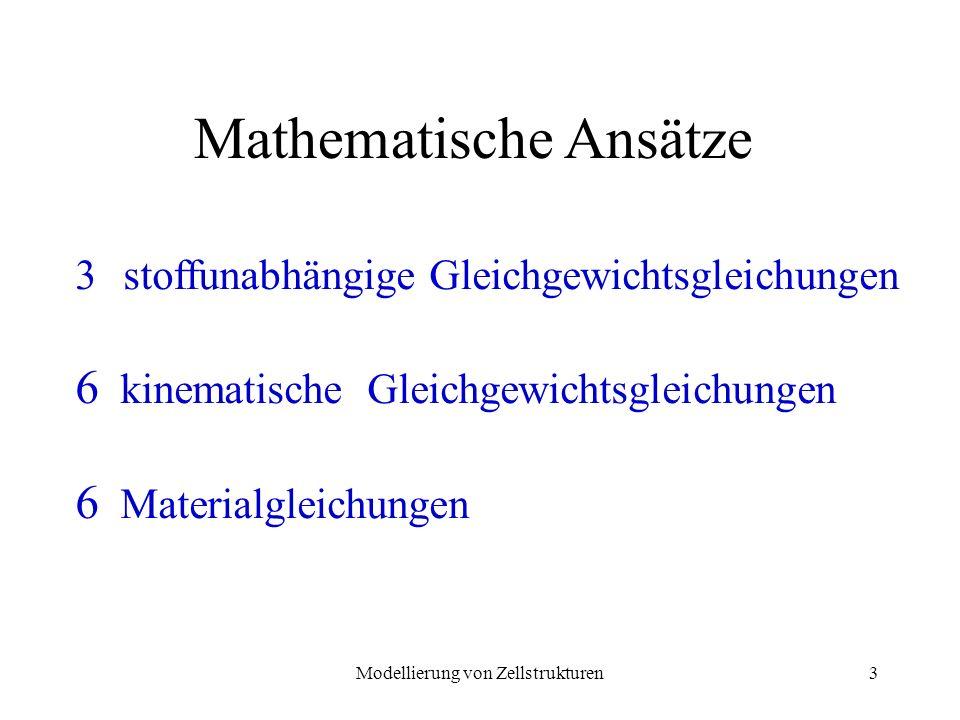 Modellierung von Zellstrukturen14 Stoffunabhängige Gleichungen Gleichgewichtsgleichungen: S x = x e x + yx e y + xz e z S y = yx e x + y e y + yz e z S z = zx e x + zy e z + z e z Tensordarstellung: x xy xz S = yx y yz zx zy z S Spannungstensor