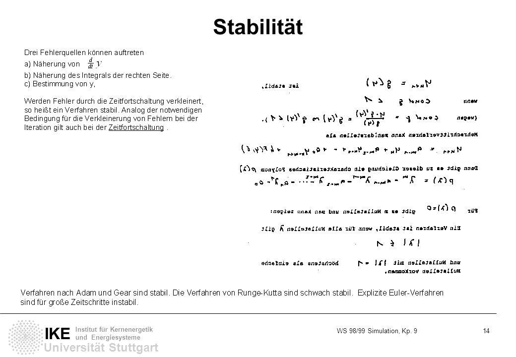 WS 98/99 Simulation, Kp. 9 14 Universität Stuttgart IKE Institut für Kernenergetik und Energiesysteme Stabilität