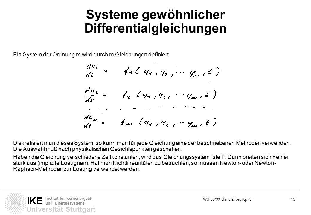 WS 98/99 Simulation, Kp. 9 15 Universität Stuttgart IKE Institut für Kernenergetik und Energiesysteme Systeme gewöhnlicher Differentialgleichungen Ein