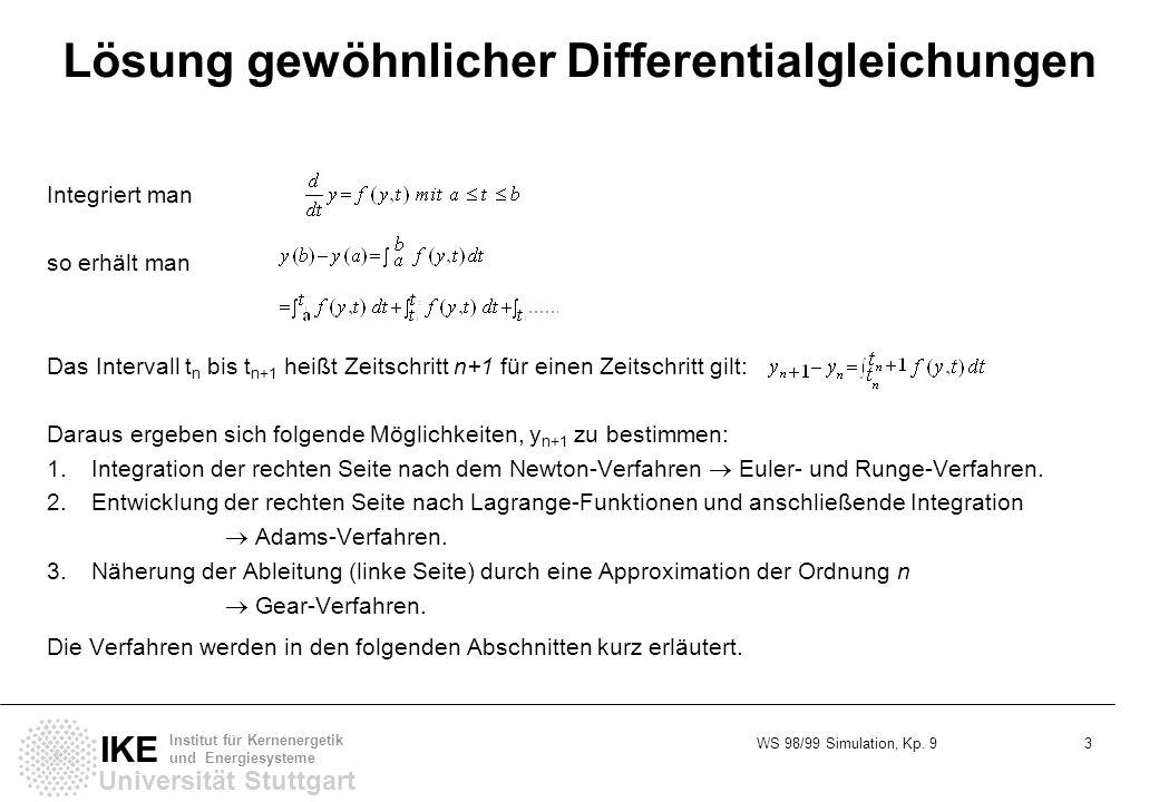 WS 98/99 Simulation, Kp. 9 3 Universität Stuttgart IKE Institut für Kernenergetik und Energiesysteme Lösung gewöhnlicher Differentialgleichungen Integ