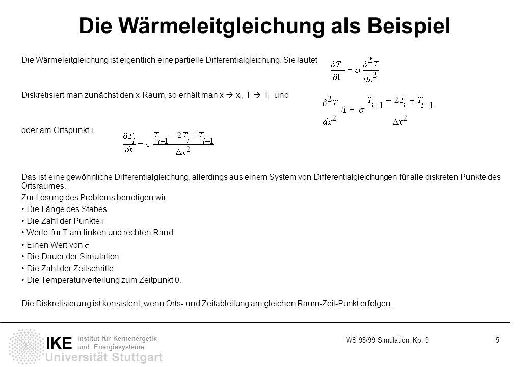 WS 98/99 Simulation, Kp. 9 5 Universität Stuttgart IKE Institut für Kernenergetik und Energiesysteme Die Wärmeleitgleichung als Beispiel Die Wärmeleit