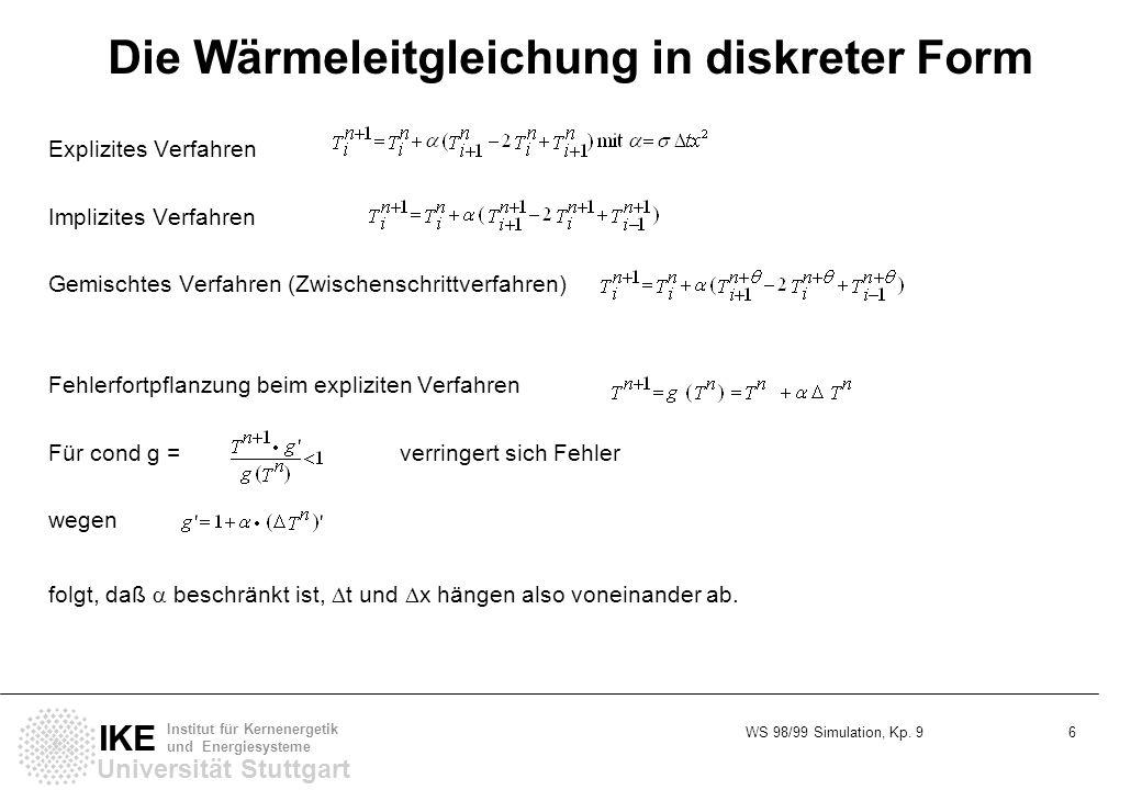 WS 98/99 Simulation, Kp. 9 6 Universität Stuttgart IKE Institut für Kernenergetik und Energiesysteme Die Wärmeleitgleichung in diskreter Form Explizit