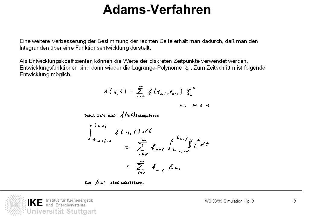 WS 98/99 Simulation, Kp. 9 9 Universität Stuttgart IKE Institut für Kernenergetik und Energiesysteme Adams-Verfahren