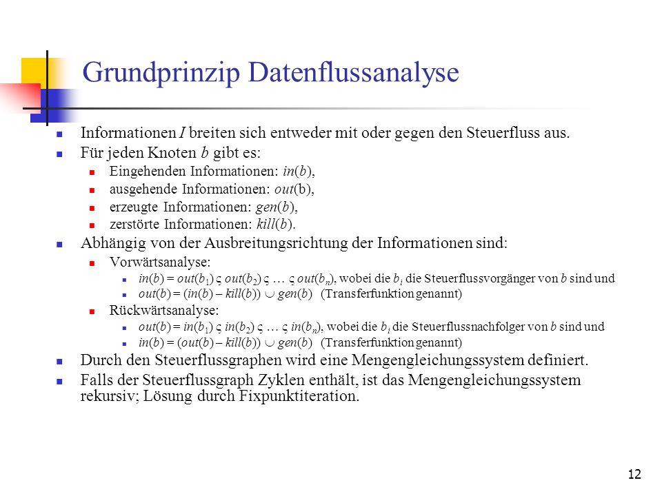 12 Grundprinzip Datenflussanalyse Informationen I breiten sich entweder mit oder gegen den Steuerfluss aus. Für jeden Knoten b gibt es: Eingehenden In