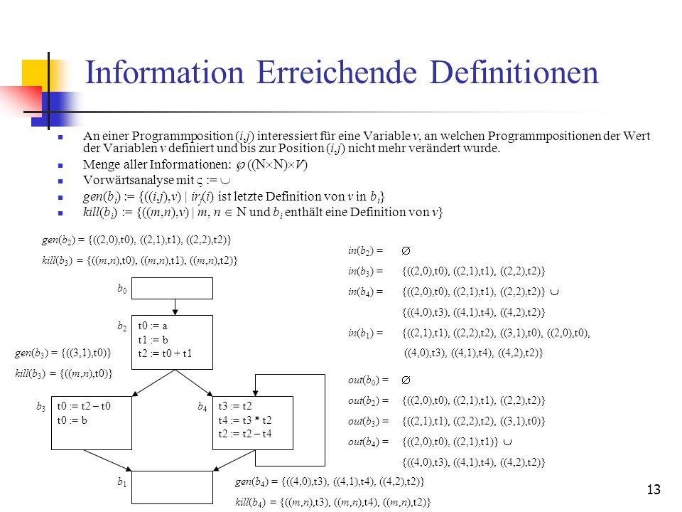 13 Information Erreichende Definitionen An einer Programmposition (i,j) interessiert für eine Variable v, an welchen Programmpositionen der Wert der V