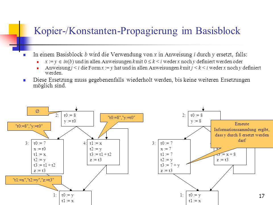 17 Kopier-/Konstanten-Propagierung im Basisblock In einem Basisblock b wird die Verwendung von x in Anweisung i durch y ersetzt, falls: x := y in(b) u