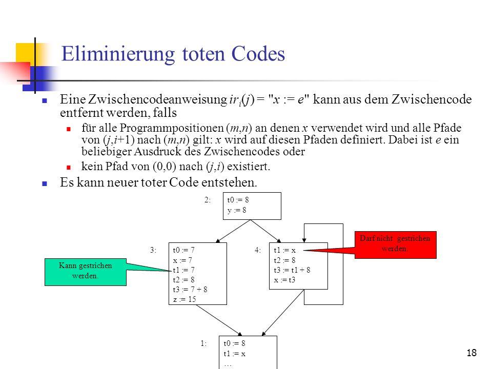 18 Eliminierung toten Codes Eine Zwischencodeanweisung ir i (j) =