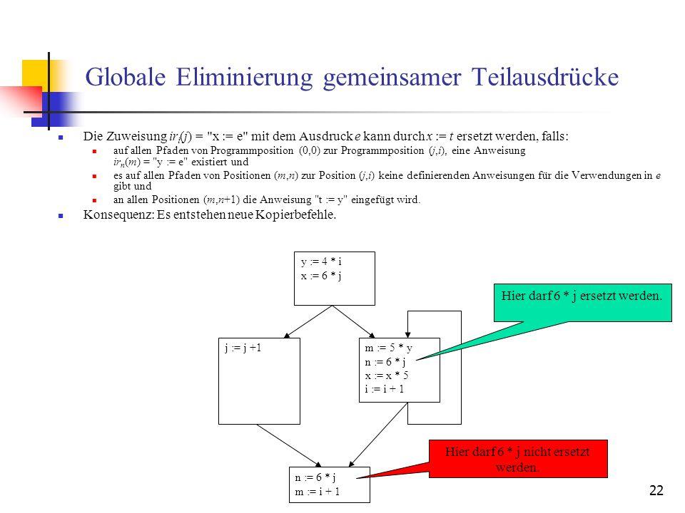 22 Globale Eliminierung gemeinsamer Teilausdrücke Die Zuweisung ir i (j) =