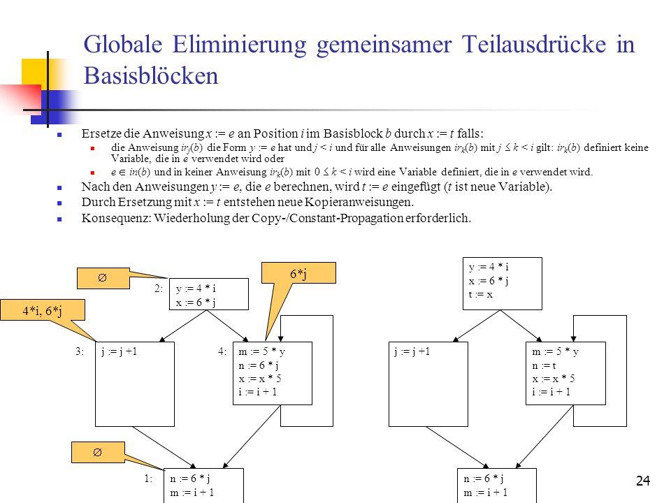 24 Globale Eliminierung gemeinsamer Teilausdrücke in Basisblöcken Ersetze die Anweisung x := e an Position i im Basisblock b durch x := t falls: die A