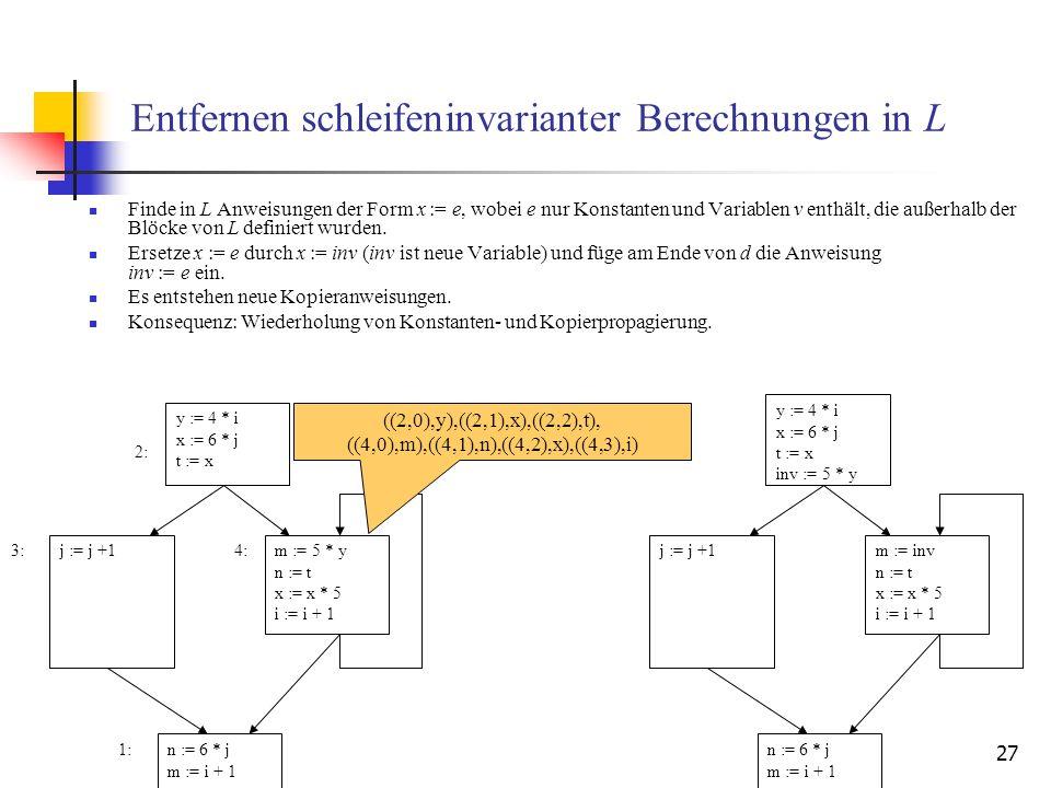 27 Entfernen schleifeninvarianter Berechnungen in L Finde in L Anweisungen der Form x := e, wobei e nur Konstanten und Variablen v enthält, die außerh