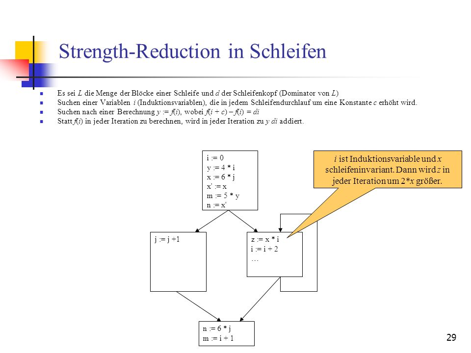 29 Strength-Reduction in Schleifen Es sei L die Menge der Blöcke einer Schleife und d der Schleifenkopf (Dominator von L) Suchen einer Variablen i (In