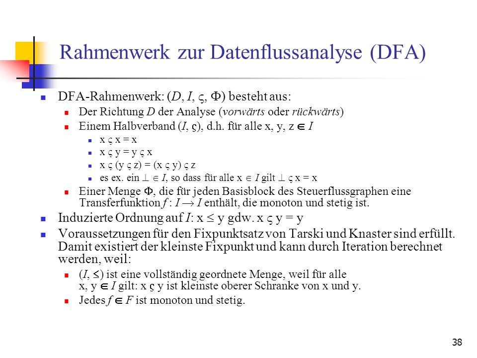 38 Rahmenwerk zur Datenflussanalyse (DFA) DFA-Rahmenwerk: (D, I,, F) besteht aus: Der Richtung D der Analyse (vorwärts oder rückwärts) Einem Halbverba