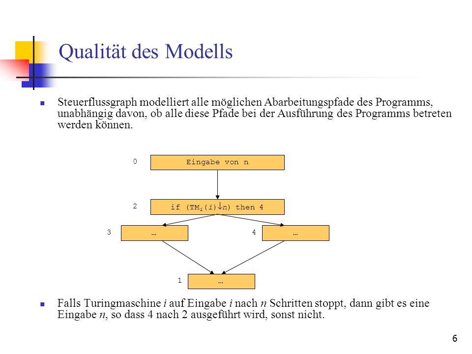 6 …… Qualität des Modells Steuerflussgraph modelliert alle möglichen Abarbeitungspfade des Programms, unabhängig davon, ob alle diese Pfade bei der Au