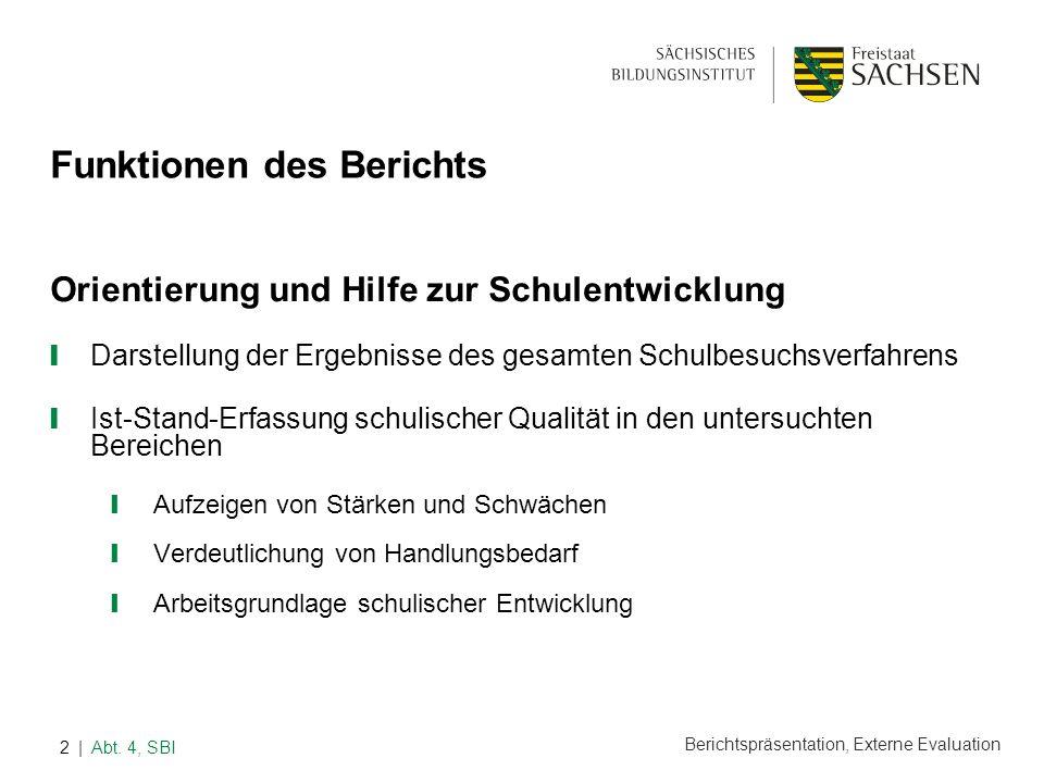 Berichtspräsentation, Externe Evaluation | Abt. 4, SBI2 Funktionen des Berichts Orientierung und Hilfe zur Schulentwicklung Darstellung der Ergebnisse