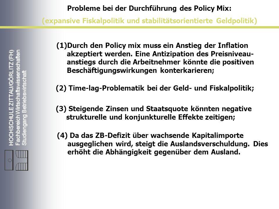 HOCHSCHULE ZITTAU/GÖRLITZ (FH) Fachbereich Wirtschaftswissenschaften Studiengang Betriebswirtschaft Probleme bei der Durchführung des Policy Mix: (expansive Fiskalpolitik und stabilitätsorientierte Geldpolitik) (1)Durch den Policy mix muss ein Anstieg der Inflation akzeptiert werden.