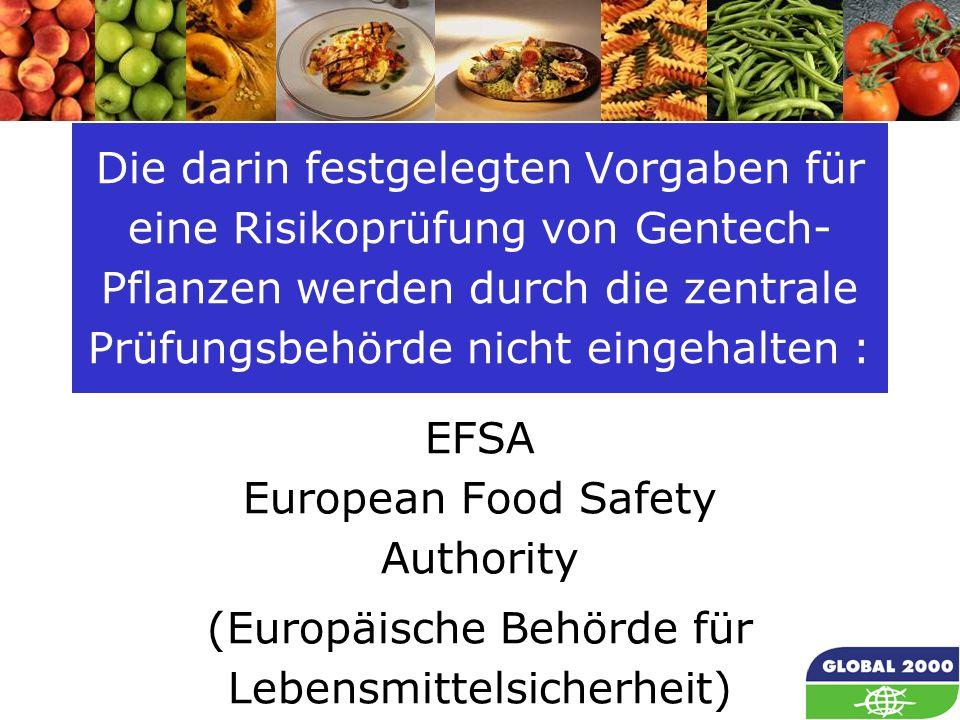 10 Die darin festgelegten Vorgaben für eine Risikoprüfung von Gentech- Pflanzen werden durch die zentrale Prüfungsbehörde nicht eingehalten : EFSA Eur