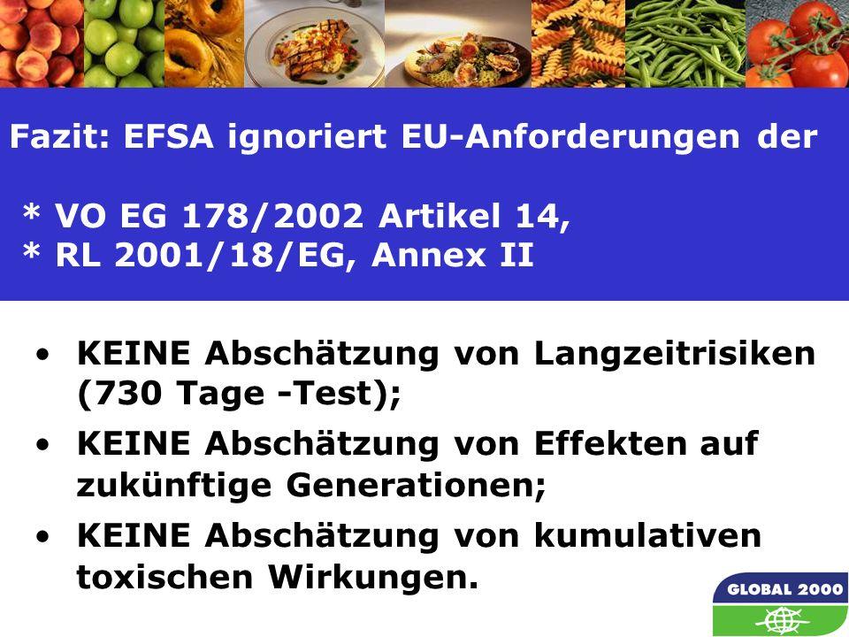 20 Fazit: EFSA ignoriert EU-Anforderungen der * VO EG 178/2002 Artikel 14, * RL 2001/18/EG, Annex II KEINE Abschätzung von Langzeitrisiken (730 Tage -