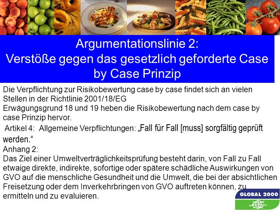 22 Argumentationslinie 2: Verstöße gegen das gesetzlich geforderte Case by Case Prinzip Die Verpflichtung zur Risikobewertung case by case findet sich