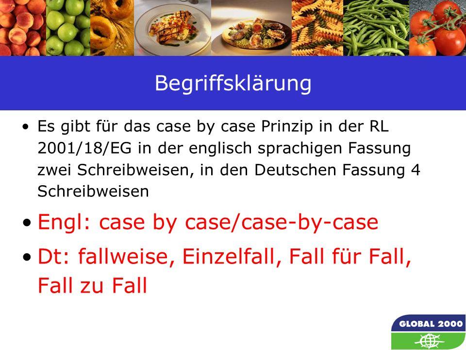 23 Begriffsklärung Es gibt für das case by case Prinzip in der RL 2001/18/EG in der englisch sprachigen Fassung zwei Schreibweisen, in den Deutschen F