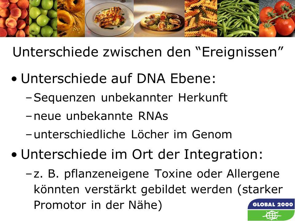 34 Unterschiede zwischen den Ereignissen Unterschiede auf DNA Ebene: –Sequenzen unbekannter Herkunft –neue unbekannte RNAs –unterschiedliche Löcher im