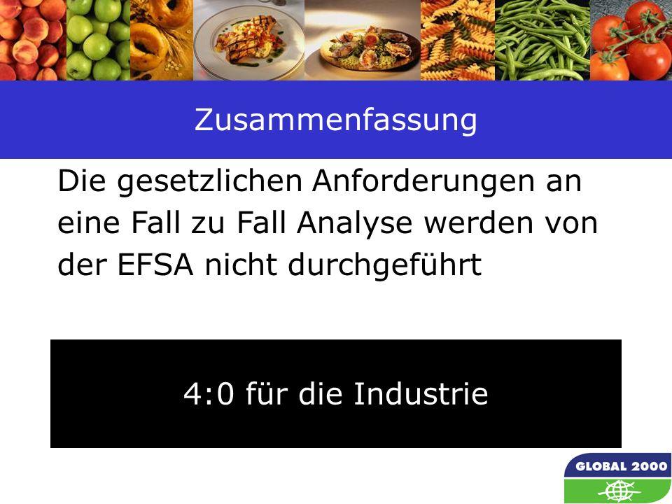 41 Zusammenfassung 4:0 für die Industrie Die gesetzlichen Anforderungen an eine Fall zu Fall Analyse werden von der EFSA nicht durchgeführt
