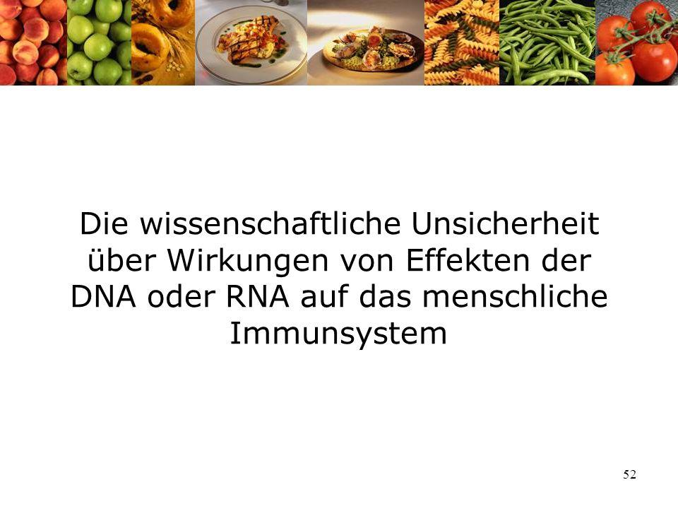 52 Die wissenschaftliche Unsicherheit über Wirkungen von Effekten der DNA oder RNA auf das menschliche Immunsystem