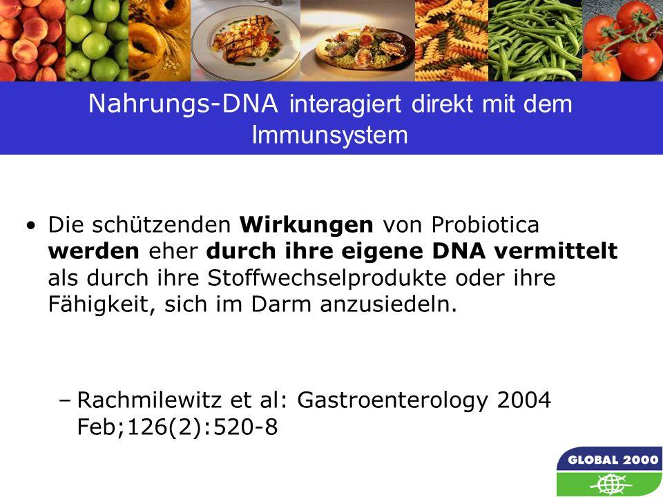 54 Nahrungs-DNA interagiert direkt mit dem Immunsystem Die schützenden Wirkungen von Probiotica werden eher durch ihre eigene DNA vermittelt als durch