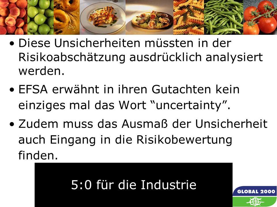 56 Diese Unsicherheiten müssten in der Risikoabschätzung ausdrücklich analysiert werden. EFSA erwähnt in ihren Gutachten kein einziges mal das Wort un
