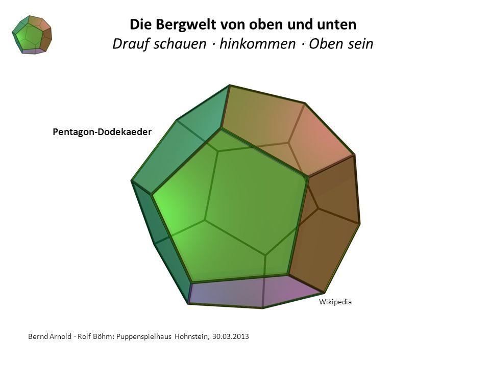 Bernd Arnold · Rolf Böhm: Puppenspielhaus Hohnstein, 30.03.2013 Pentagon-Dodekaeder Die Bergwelt von oben und unten Drauf schauen · hinkommen · Oben s