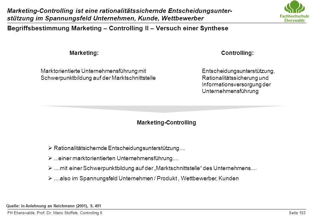 FH Eberswalde, Prof. Dr. Mario Stoffels, Controlling IISeite 103 Marketing-Controlling ist eine rationalitätssichernde Entscheidungsunter- stützung im