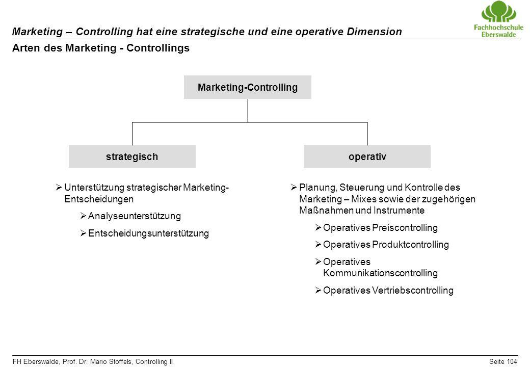 FH Eberswalde, Prof. Dr. Mario Stoffels, Controlling IISeite 104 Marketing – Controlling hat eine strategische und eine operative Dimension Arten des