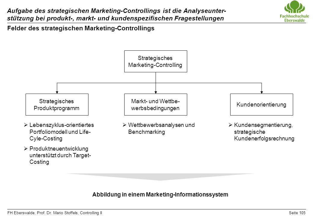 FH Eberswalde, Prof. Dr. Mario Stoffels, Controlling IISeite 105 Aufgabe des strategischen Marketing-Controllings ist die Analyseunter- stützung bei p