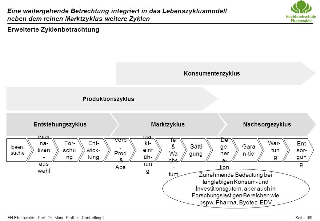 FH Eberswalde, Prof. Dr. Mario Stoffels, Controlling IISeite 109 Eine weitergehende Betrachtung integriert in das Lebenszyklusmodell neben dem reinen