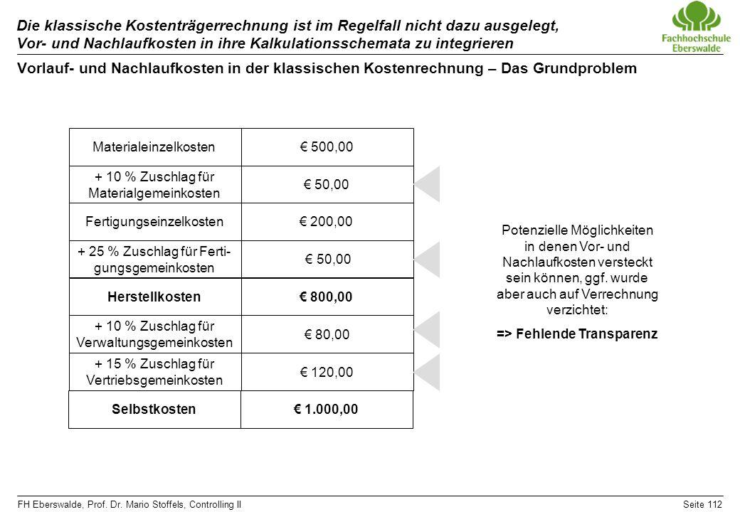 FH Eberswalde, Prof. Dr. Mario Stoffels, Controlling IISeite 112 Die klassische Kostenträgerrechnung ist im Regelfall nicht dazu ausgelegt, Vor- und N