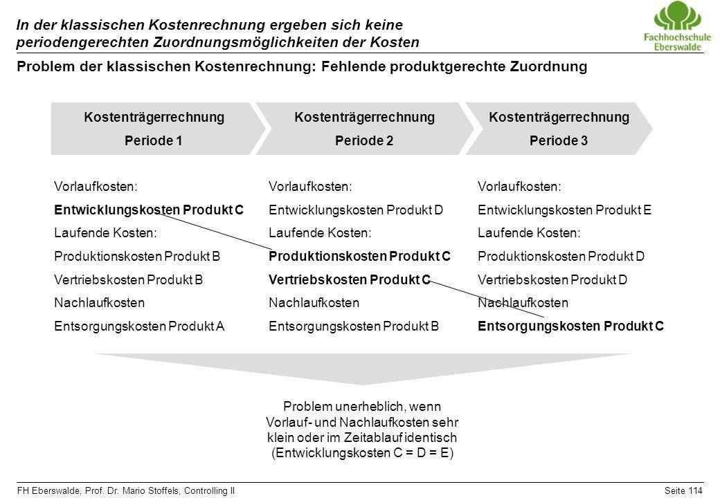 FH Eberswalde, Prof. Dr. Mario Stoffels, Controlling IISeite 114 In der klassischen Kostenrechnung ergeben sich keine periodengerechten Zuordnungsmögl