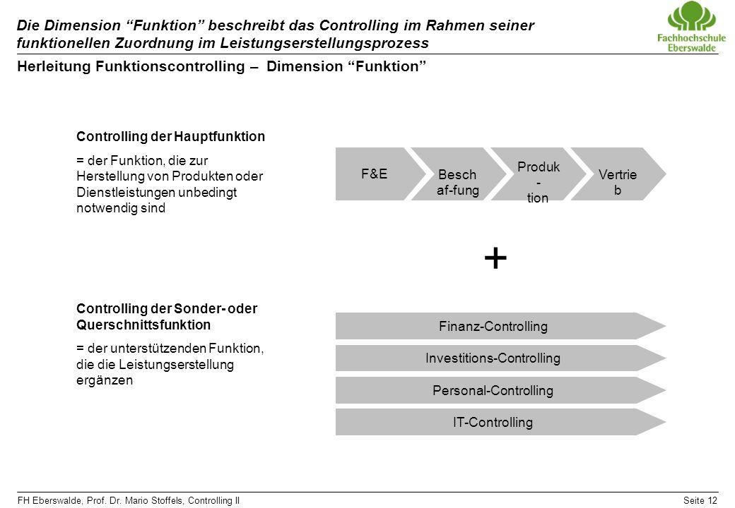 FH Eberswalde, Prof. Dr. Mario Stoffels, Controlling IISeite 12 Die Dimension Funktion beschreibt das Controlling im Rahmen seiner funktionellen Zuord