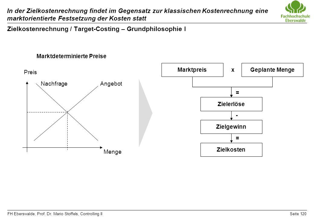 FH Eberswalde, Prof. Dr. Mario Stoffels, Controlling IISeite 120 In der Zielkostenrechnung findet im Gegensatz zur klassischen Kostenrechnung eine mar